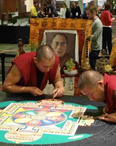 Here, a traditional mandala ceremony slowly takes form at Wisdom 2.0 2015