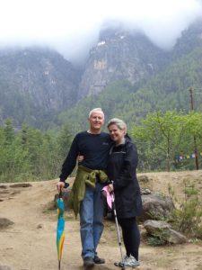 Ron Renz and Janet Whelan at Taktsang, Bhutan
