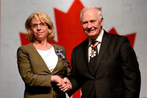 GG02-2016-0294-027 July 13, 2016 Halifax, Nova Scotia, Canada His Excellency presents the Meritorious Service Medal (Civil Division) to Laurie Mallery, M.S.M. His Excellency the Right Honourable David Johnston, Governor General of Canada, presented honours to 72 recipients from across the Atlantic Provinces during a ceremony on Wednesday, July 13, 2016, at the Canadian Museum of Immigration at Pier 21, in Halifax, Nova Scotia. Decoration for Bravery, Meritorious Service Decoration or the Sovereign's Medal for Volunteers were presented during the Ceremony. Credit: MCpl Vincent Carbonneau, Rideau Hall, OSGG