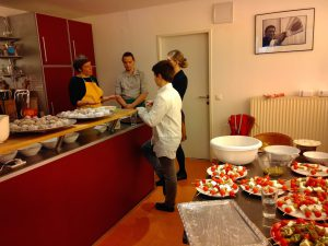 Kitchen preparations at the Vienna Shambhala Center